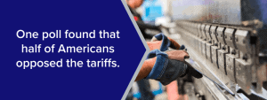 one poll found that half of americans opposed the tariffs